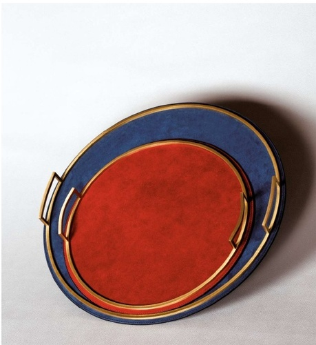 Multicolor Leather Trays at The Silver Peacock Inc - English Barware