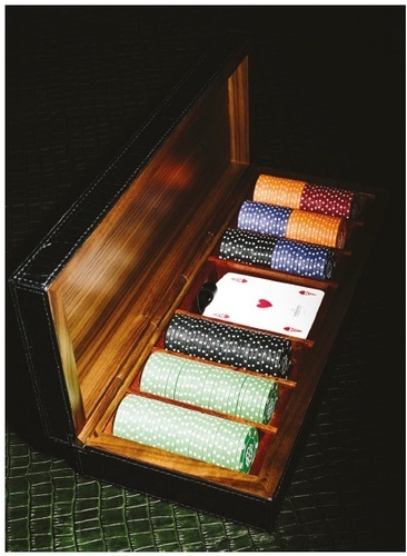 Leather Covered Wooden Poker Box at The Silver Peacock Inc