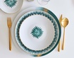 White and Green Porcelain Plate - Luxury Dinnerware at The Silver Peacock Inc