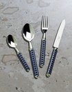 Hand Finished Alain Saint Joanis Maya Dark Blue Range of Silver Flatware at The Silver Peacock Inc