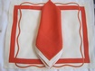 Red and White Table Placemats and Napkin Set at The Silver Peacock Inc