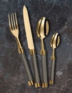 Alain Saint Joanis Grey and Gold Cutlery Set at The Silver Peacock Inc - Gold Flatware