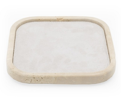 Rectangular Travertine Valet Tray