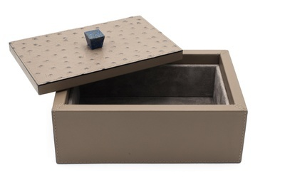 Rectangular leather trinket or bathroom vanity box - Waterproof Leather Accessories at The Silver Peacock Inc