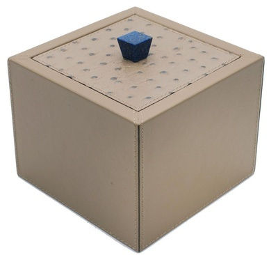 Contemporary Square Leather Trinket or Bathroom Vanity Box - Handmade Italian Leather Accessories at the Silver Peacock Inc