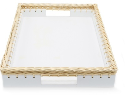 Rectangular White Nappa Leather Tray Trimmed With a Woven Wicker Wood Edge - the Silver Peacock Inc