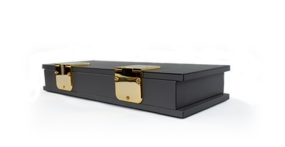 Contemporary Rectangular Dark Gray Leather Box With Two Large Brass Hinges - Waterproof Leather Accessories
