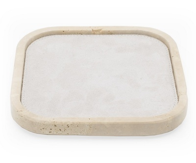 Rectangular Travertine Valet Tray With a White Suede Interior and Rounded Corners - the Silver Peacock Inc