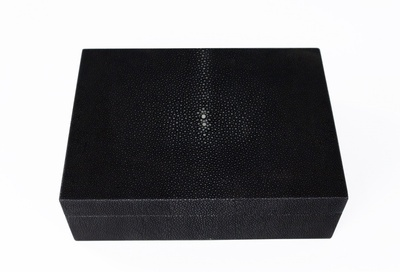 Walnut Wood Shagreen Box - Leather Desk Accessories at the Silver Peacock Inc