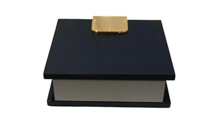 Leather Box With Brass Hinges - Leather Desk Accessories at the Silver Peacock Inc
