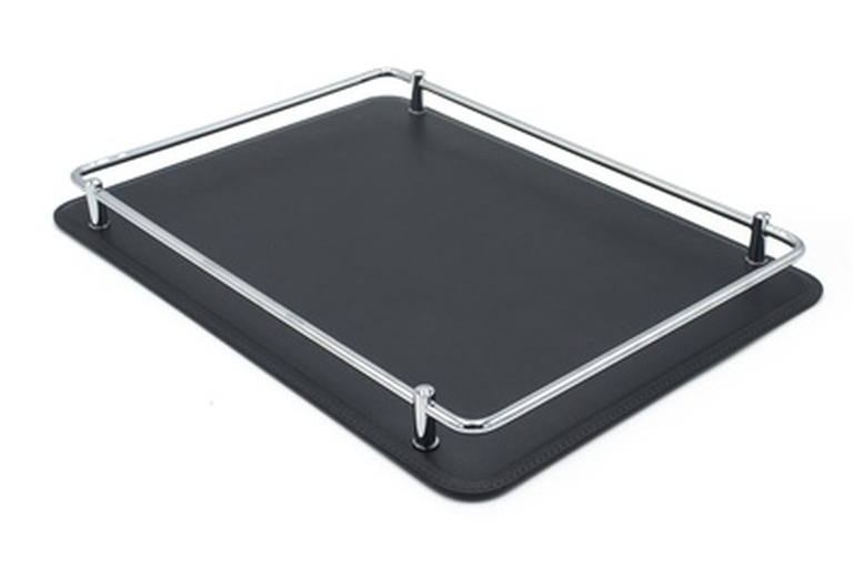 Rectangular Black Tray With Chrome Rail Sides - Waterproof Leather Accessories at the Silver Peacock Inc