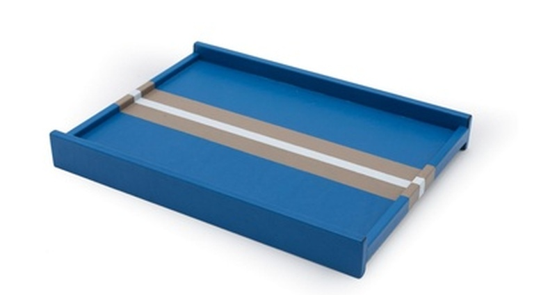 Rectangular Blue Leather Valet Tray With a Central Gray and White Stripe - Leather Accessories at the Silver Peacock Inc