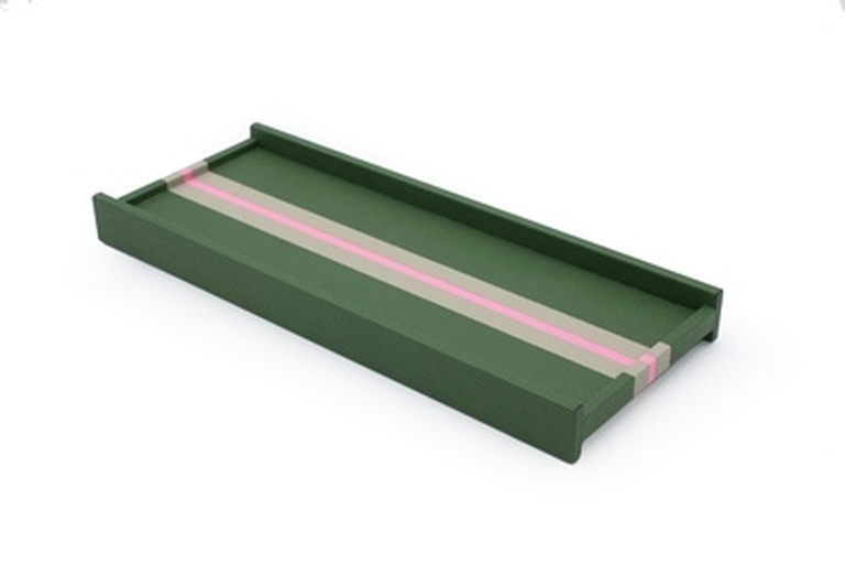 Rectangular Green Leather Valet Tray at  the Silver Peacock Inc
