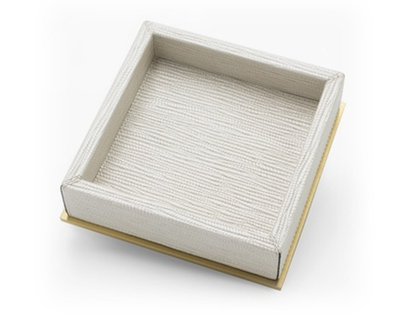 Square Valet Tray With Brass Trim - Waterproof Leather Accessories at the Silver Peacock Inc