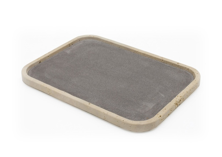 Rectangular Travertine Valet Tray at The Silver Peacock Inc