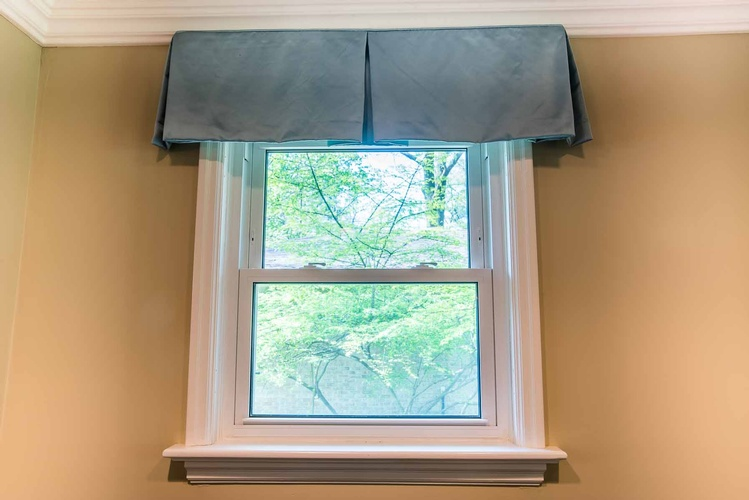 Living Room Box Pleat Valance - Window Treatments by PARSONS INTERIORS LTD.