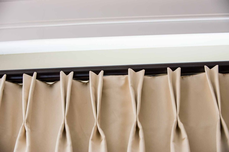 Two Finger French Pleat Passover Hardware - Window Treatments by Designer Specialist at PARSONS INTERIORS LTD.