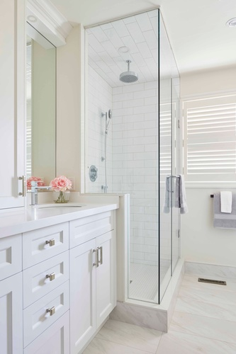 Guest Bathroom Shower - Bathroom Design by PARSONS INTERIORS LTD.