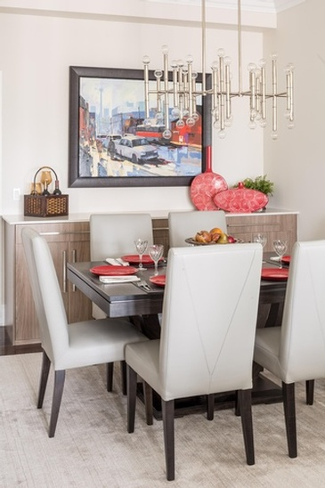 Dining Room Chandelier Oakville ON by Parsons Interiors Ltd.