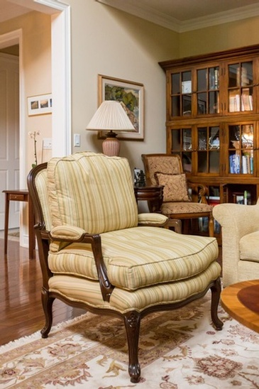 Traditional Bergere Chair - Custom Furnishings in Oakville by Parsons Interiors Ltd.