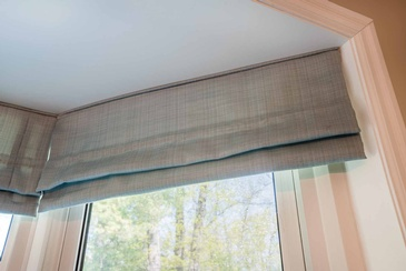 Kitchen Roman Valance - Window Treatments in Oakville by Parsons Interiors Ltd.