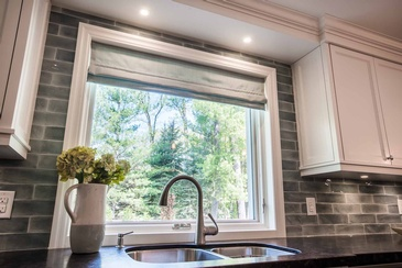 Kitchen Window Treatment - Custom Window Treatments in Oakville ON by Parsons Interiors Ltd.