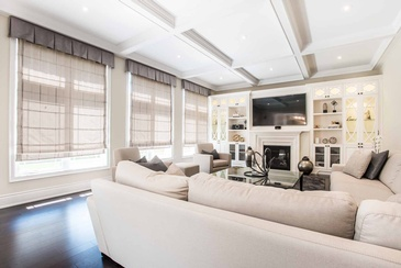 Family Room Custom Wall Unit - Living Room Design Mississauga ON by Parsons Interiors Ltd.