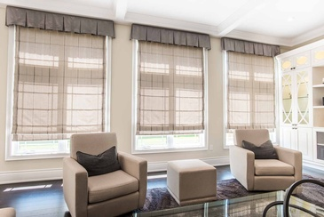 Family Room Drapery - Interior Design Specialists Oakville at Parsons Interiors Ltd.