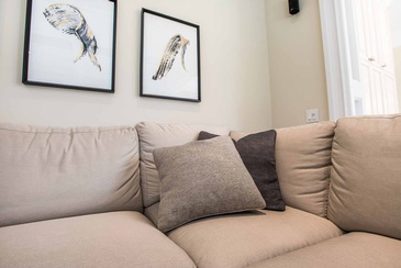 Family Room Custom Pillows - Interior Design Oakville by Parsons Interiors Ltd.