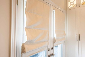 Girl's Bedroom Roman Blinds - Custom Furnishings in Oakville ON by Parsons Interiors Ltd.