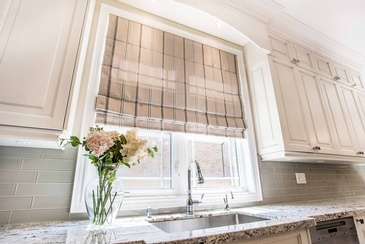 Kitchen Roman Blinds - Window Treatments in Oakville ON by Parsons Interiors Ltd.
