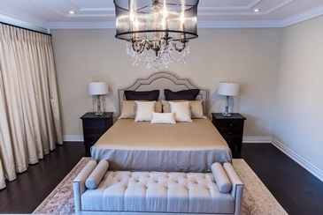 Master Bedroom Chandelier - Bedroom Design Oakville ON by Parsons Interiors Ltd.