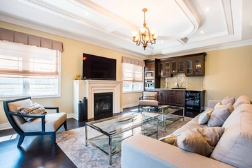 Second Floor Family Room Coffered Ceiling design by Parsons Interiors Ltd. - Design Studio Oakville