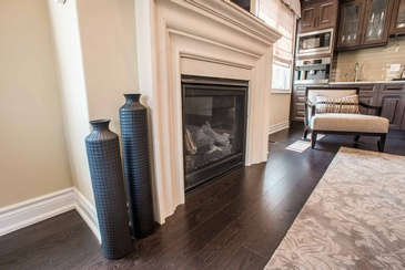 Second Floor Family Room Fireplace Accessories - Interior Design Oakville by Parsons Interiors Ltd.