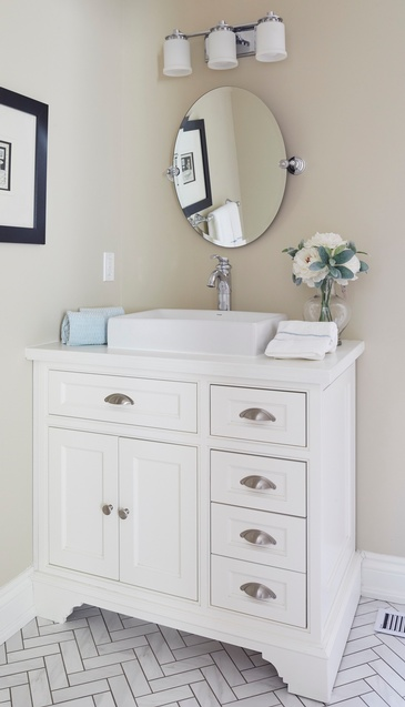 Powder Room Vanity Custom Millwork - Bathroom Design in GTA by Parsons Interiors Ltd.