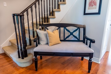 Front Hall Bench Reupholstery - Furniture Studio Oakville by Parsons Interiors Ltd.