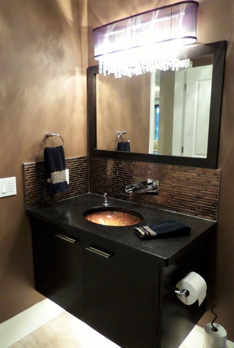 Lighted vanity cabinet sink Design by Monica Rose Designs