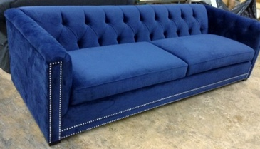 Velvet Fabric Royal Blue Upholstered 2 Seat Sofa at ViVi Upholstery - Furniture Manufacturers North York