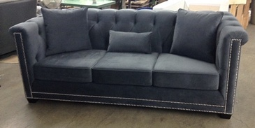 3 Seater Grey Fabric Sofa with Throw Pillows -GTA Custom Furniture Upholstery at ViVi Upholstery