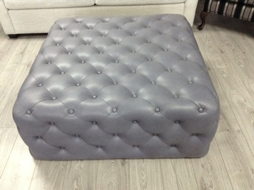 Grey Square Tufted Ottoman at ViVi Upholstery - Custom Furniture Manufacturing Toronto