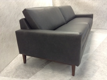 Black 2 seater Leather Sofa at ViVi Upholstery - Custom Furniture Upholstery in Toronto