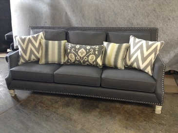 3 Seater Grey Fabric Sofa with Throw Pillows - Custom Furniture Manufacturing North York at ViVi Upholstery