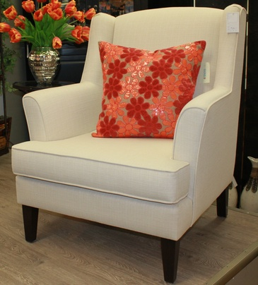 Cream Color Sofa Chair with Throw Pillow at  ViVi Upholstery - Custom Upholstery in North York