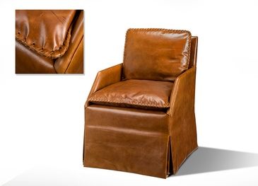 Caramel Color Leather Sofa Chair at ViVi Upholstery - Residential Upholstery GTA