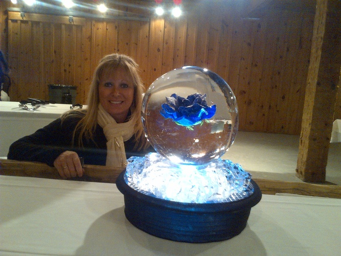 Blue Flower Sphere Ice Sculpture Centerpiece by Festive Ice Sculptures