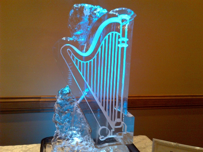 Harp Ice Sculpture for Wedding Cambridge by Festive Ice Sculptures