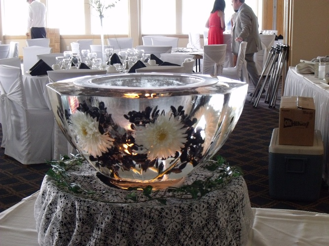 Ice Sculpture Bowl with White Flowers by Festive Ice Sculptures
