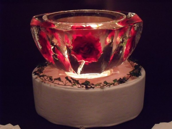 Lighted Ice Sculpture Bowl with Red Roses Carved by Festive Ice Sculptures