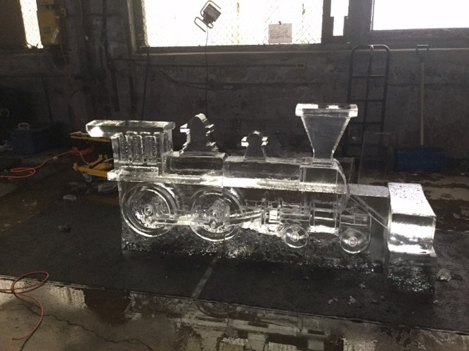 Ice Sculpture Train Engine by Festive Ice Sculptures