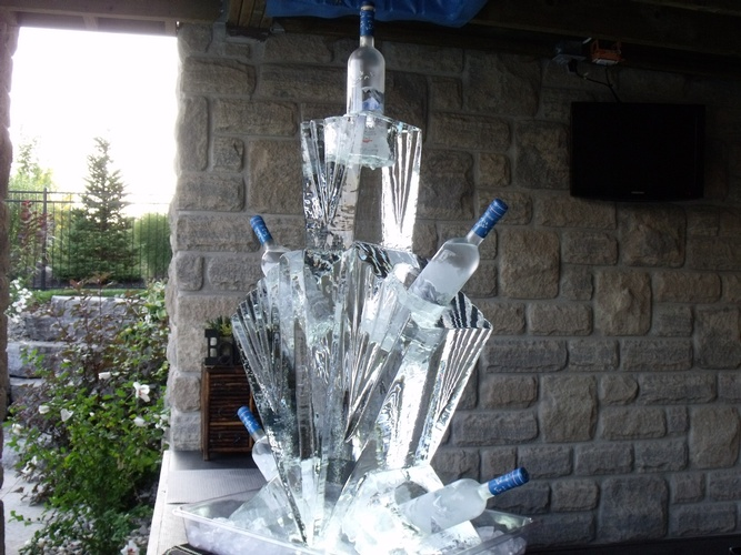 Amazing Bottle Holder Ice Sculpture by Festive Ice Sculptures